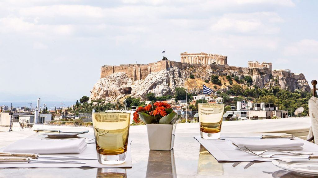 Tudor Hall Restaurant Athens King George View of Acropolis