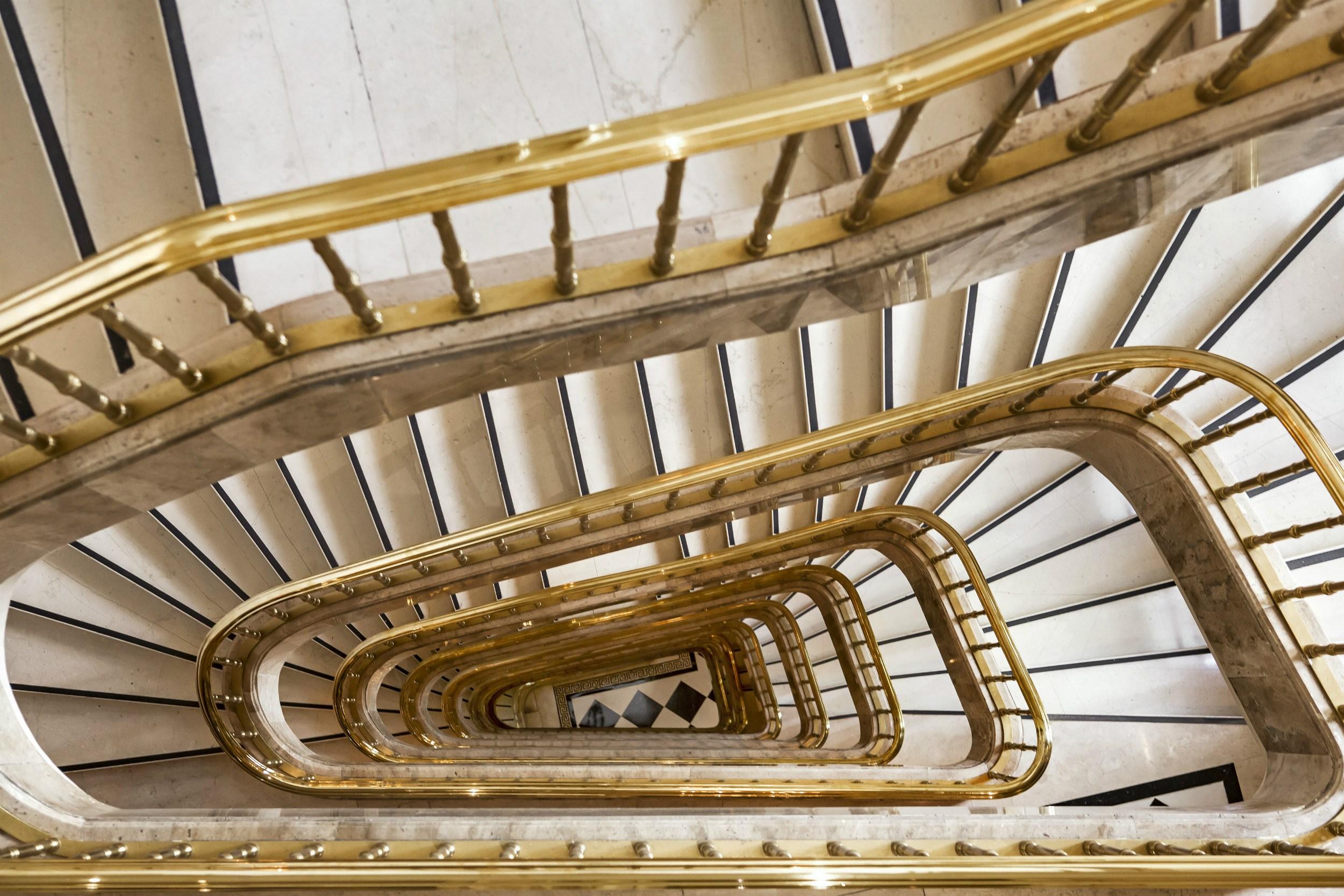 The original main staircase balustrade of Hotel Grande Bretagne in Athens