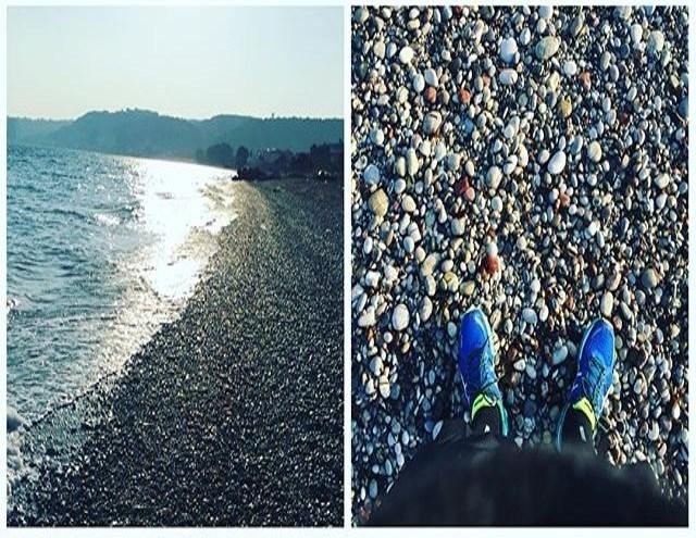 Markos Tza running on the beach in Rhodes