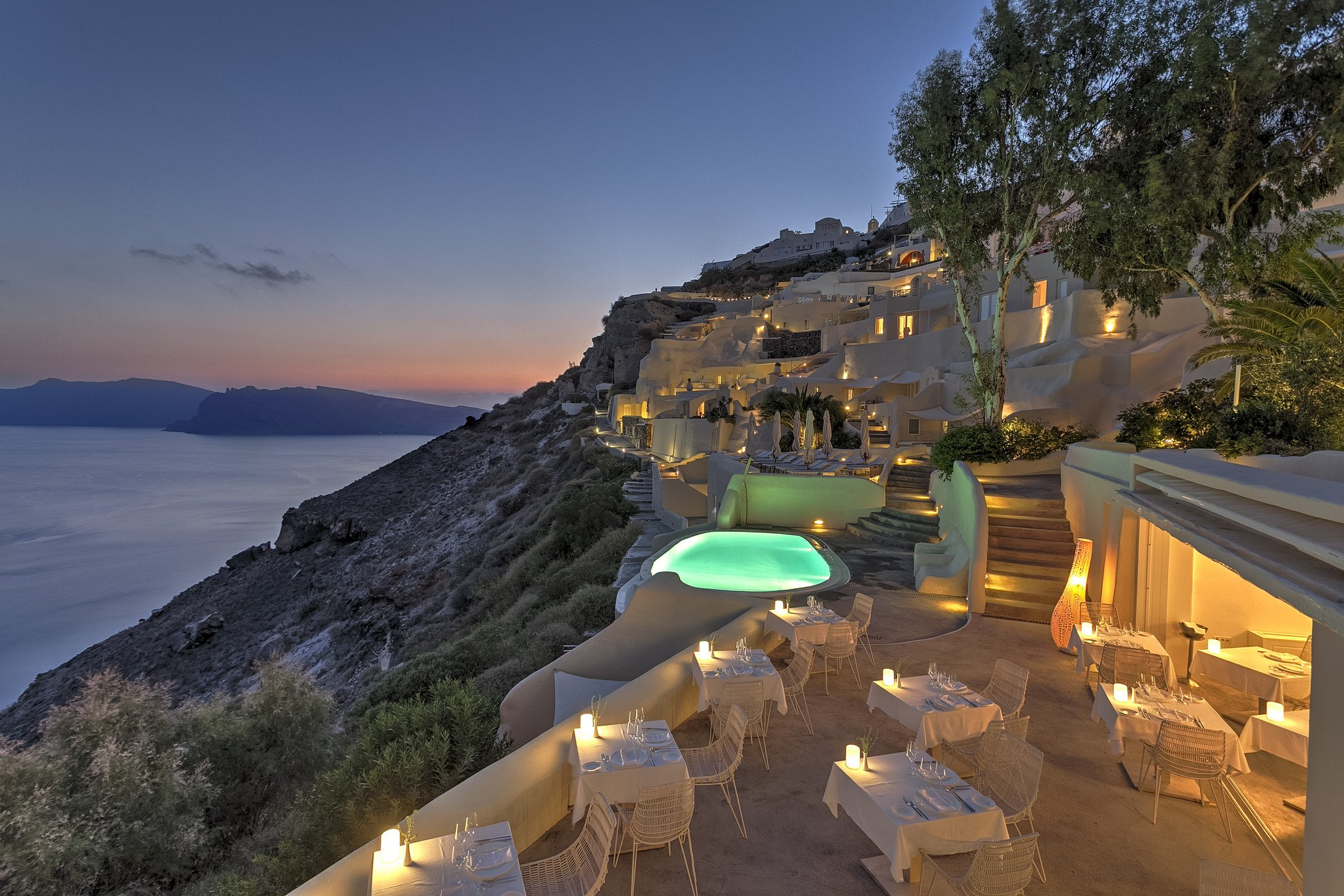 View from Charisma Restaurant at Mystique a Luxury Collection Hotel Santorini