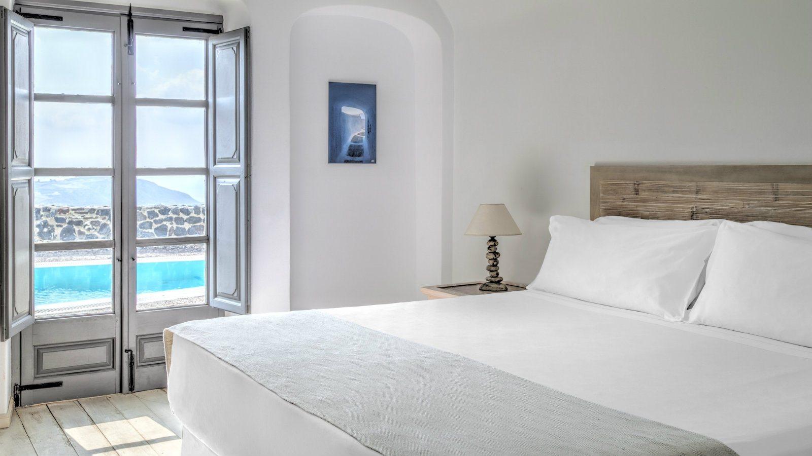 Journey Greece Santorini Vedema Resort Olympian Villa Bedroom