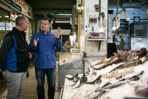 "Next stop: ""Varvakios"" Athens fish market to choose the freshest seefood with Chef Mr. Asterios Koustoudis."